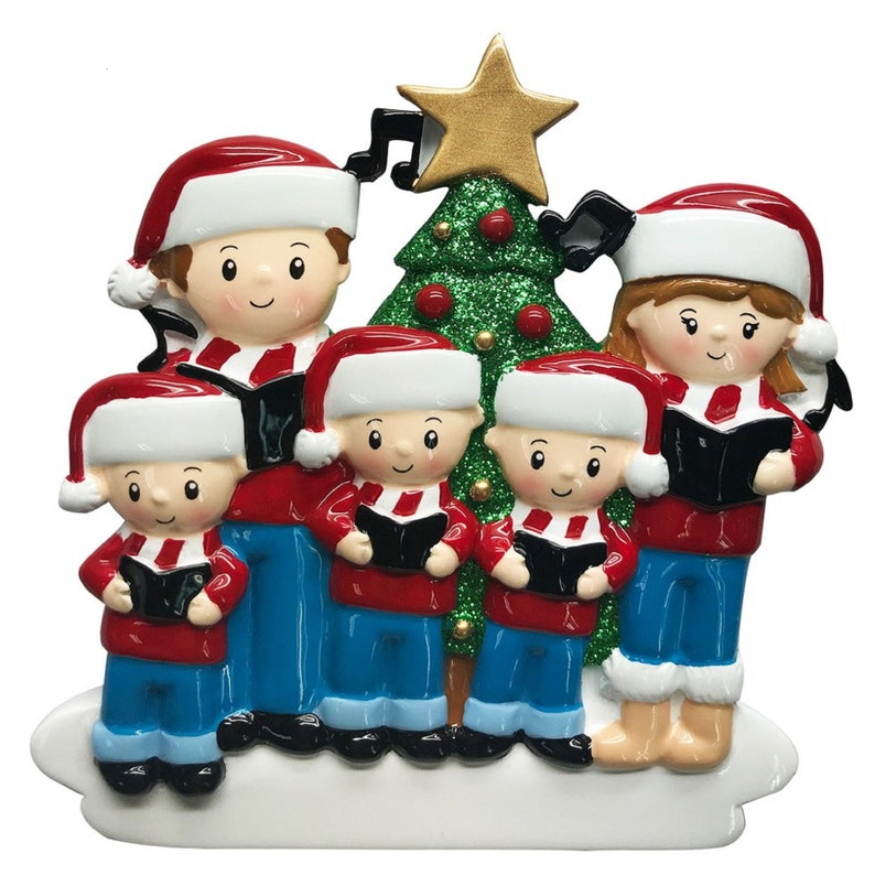 Caroling Family of 5 Personalized Christmas Ornament