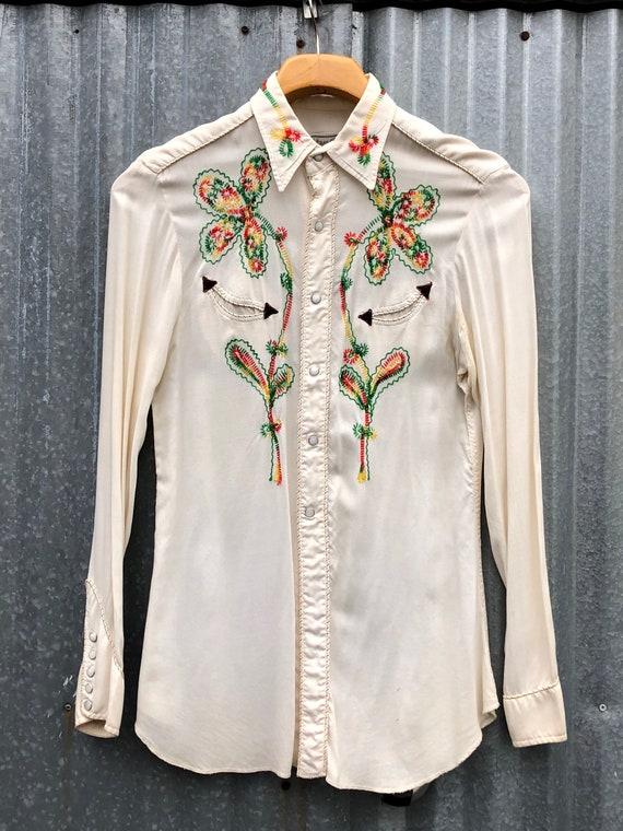Vintage 1950s H Bar C Western Shirt Rockabilly Emb