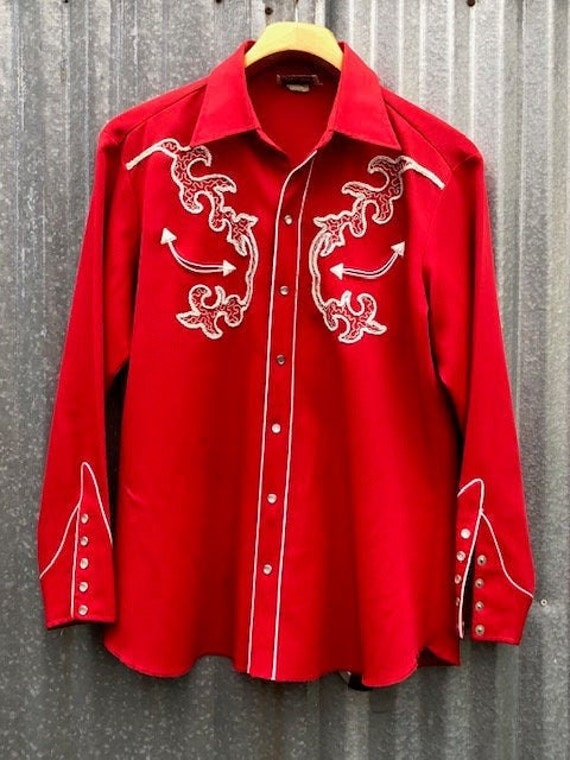Vintage H Bar C Western Pearl Snap Shirt Red XL Ro