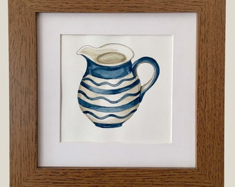 Framed print, handprinted with watercolour
