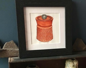 Framed print, hand painted with with watercolour