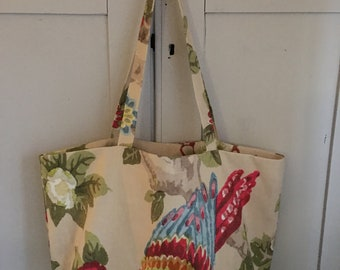 Vintage design printed linen tote bag