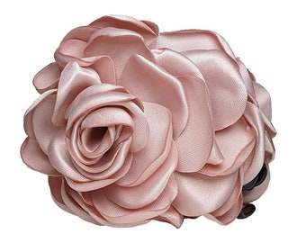 Small// medium rose gold or dark silver roses metal hair claw clip