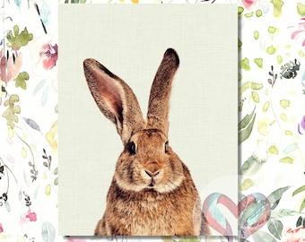 Bunny Art Print. Printable Poster, Instant Digital Download, Watercolor, Nursery , Modern Minimalist,