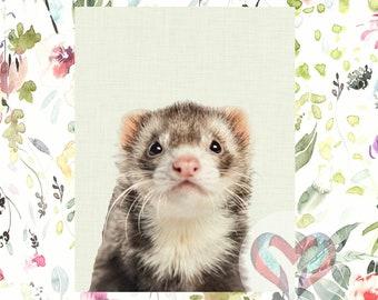 Ferret Art Print. Printable Poster, Instant Digital Download, Nursery , Modern Minimalist,
