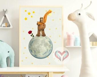 Alf, The Little Prince Art Print. Printable Poster, Instant Digital Download,  Nursery , Modern Minimalist,