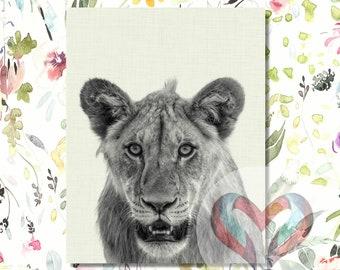 Lion Art Print. Printable Poster, Instant Digital Download, Watercolor, Nursery , Modern Minimalist,