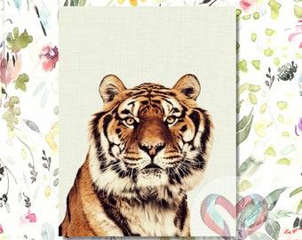 Tiger Art Print. Printable Poster, Instant Digital Download, Watercolor, Nursery , Modern Minimalist,