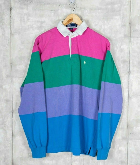 Polo Ruby Collared Long Sleeve Colorblock 90s Vint