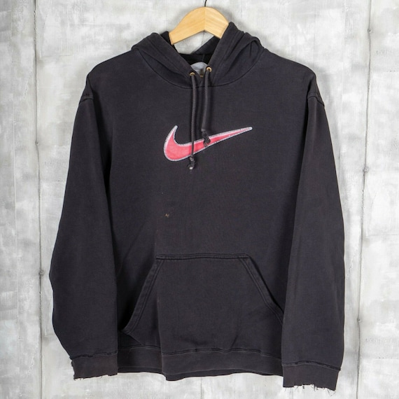 Nike Big Check Logo 90s Distressed Vintage Hoodie