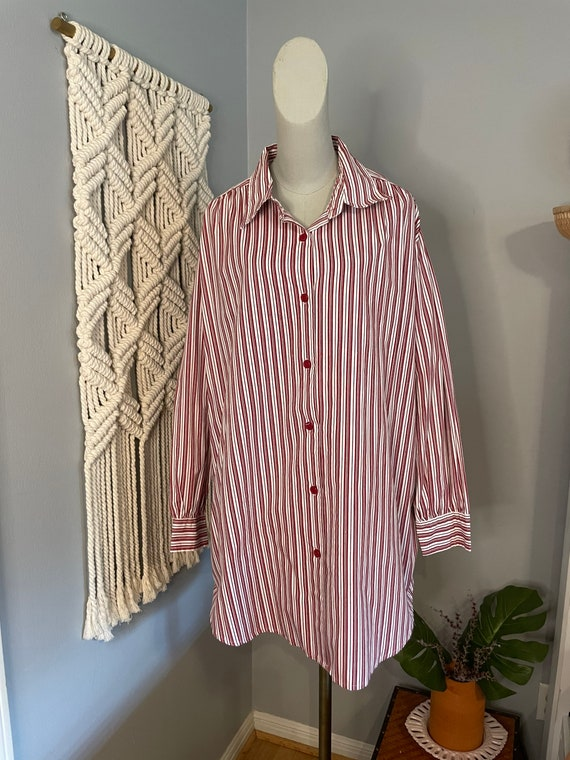 Vintage Red and White Striped Blouse