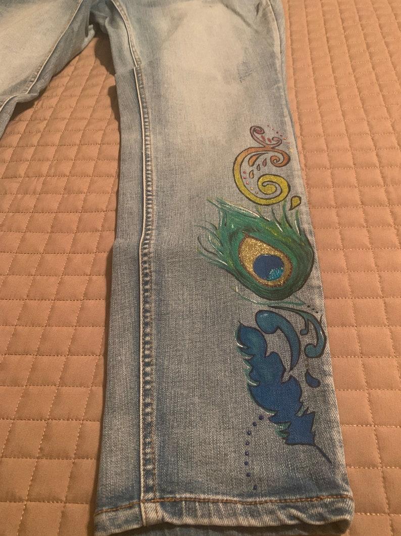 Handpainted Peacock Jeans