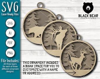 Wildlife Ornament/Gift Tag Design Set - Laser Ready SVG File
