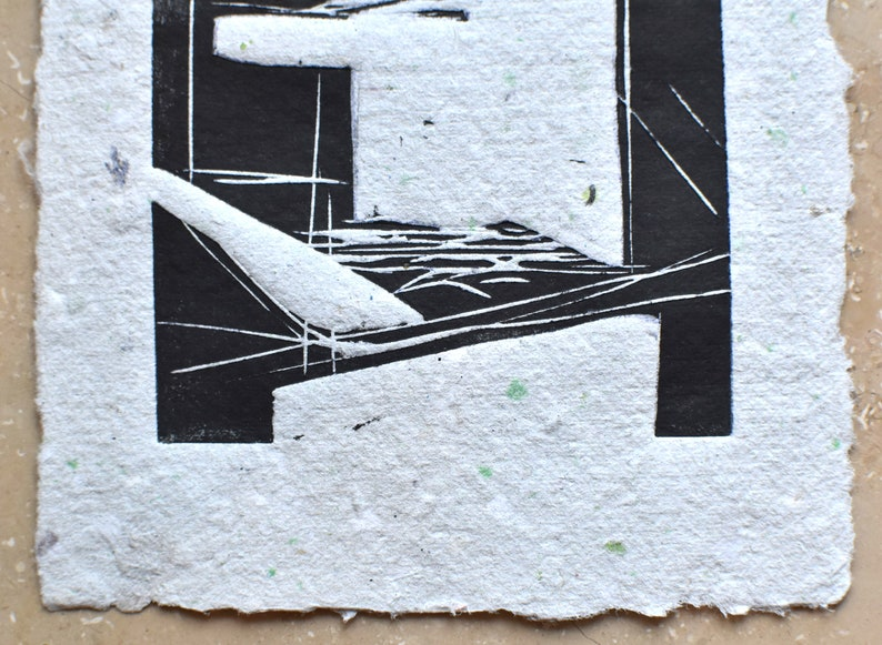 Knowledge abstract linocut printing