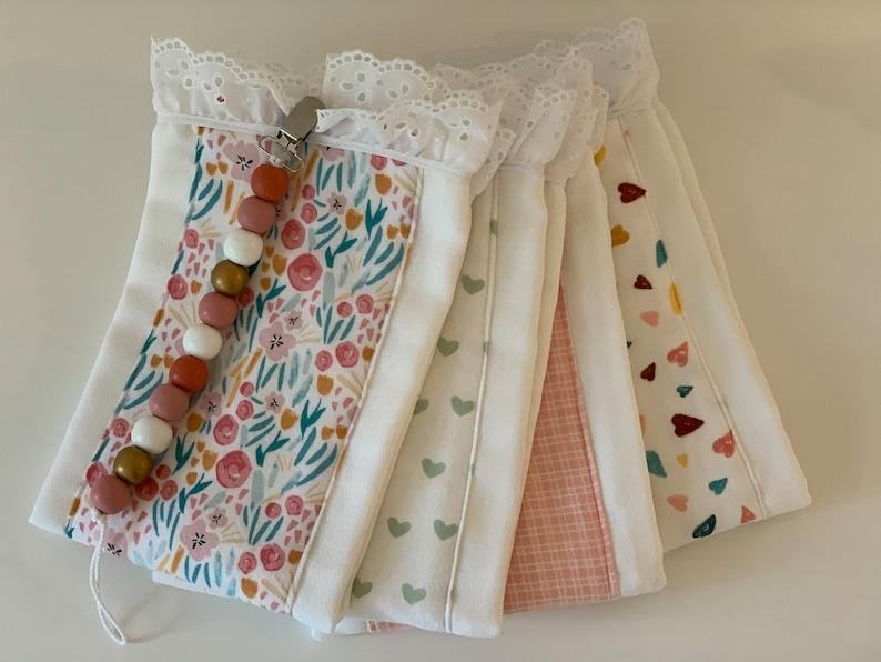 burp cloths baby girl burp cloths handmade burp cloths pacifier holder