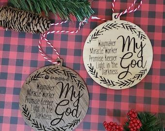 Wood Slice Christmas Ornaments Ornaments Personalized Custom Faith Wood Bible Verse Ornaments Lyrics Ornament Gift for Secret Santa