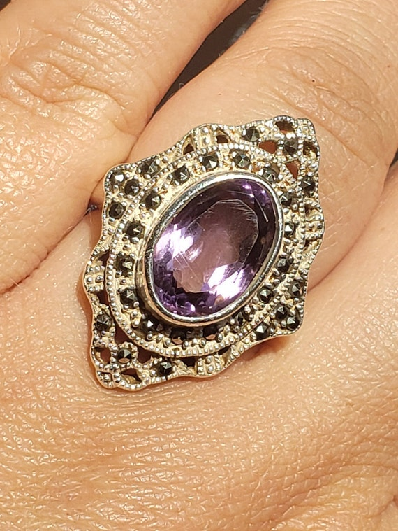 1970's Victorian style Amethyst and Marcasite silv