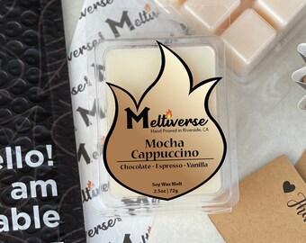 Mocha Cappuccino   Chocolate • Espresso • Vanilla   Soy Wax Melt   Soy Wax Tart   Phthalate Free   100% Soy Wax 6pk
