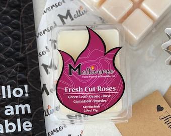 Fresh Cut Roses | Green Leaf • Ozone • Rose • Carnation • Powder | Soy Wax Melt | Soy Wax Tart | Phthalate Free | 100% Soy Wax 6pk