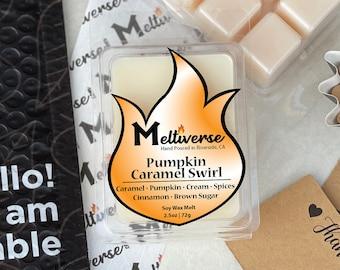 Pumpkin Caramel Swirl   Caramel • Pumpkin • Cream • Spices • Brown Sugar   Soy Wax Melt   Soy Wax Tart   Phthalate Free   100% Soy Wax 6pk