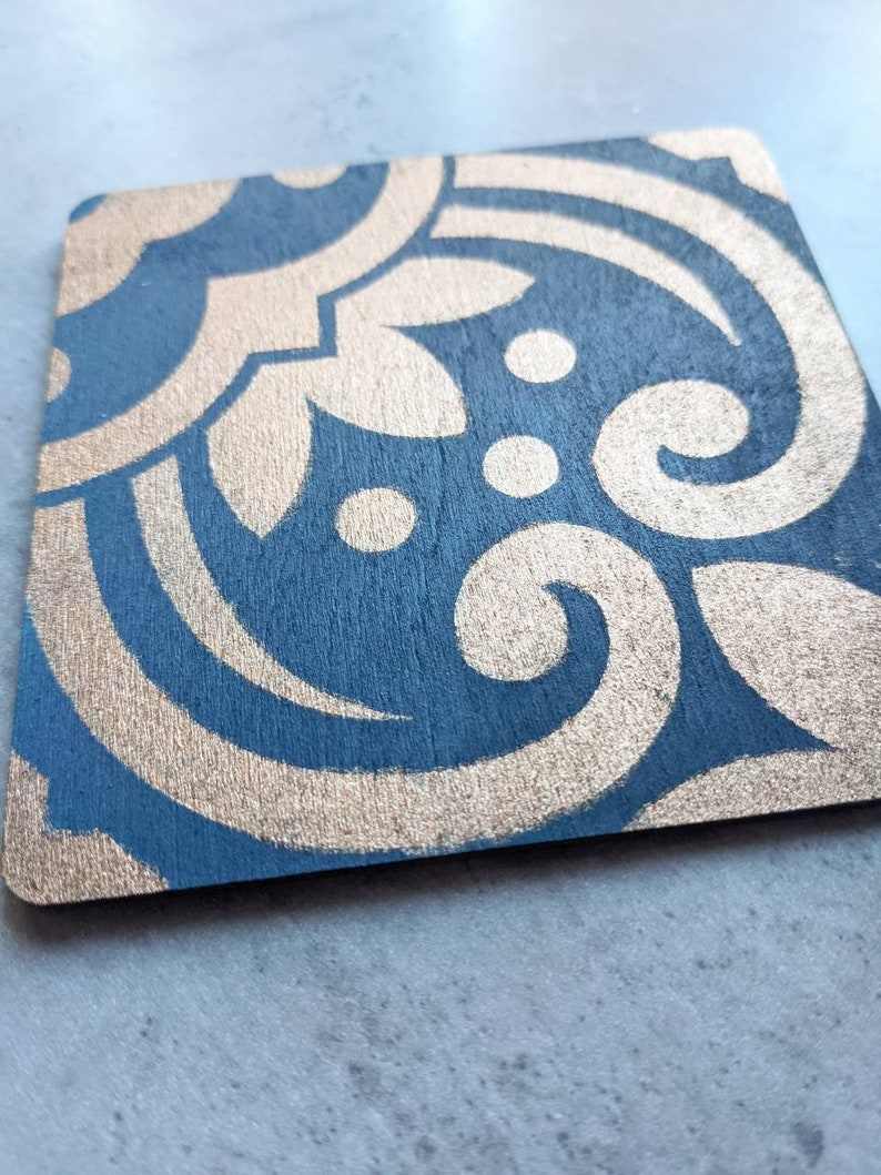 Tile coasters wooden hand painted Moroccan navy bronze patterned quirky Set of 4