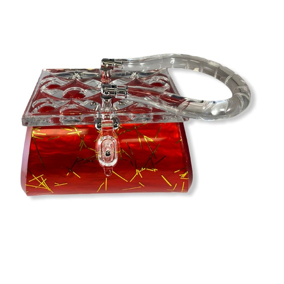 Red & Gold Lucite Purse Vintage