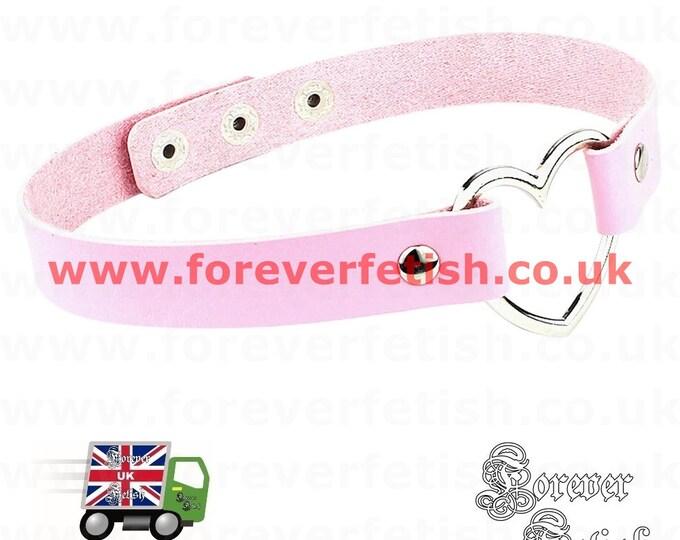 Pink Heart Shaped Choker Necklace Collar Bondage Daddys Girl Princess Submissive UK Mature