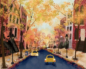 The Quietest Day Fall Autumn New York City by Joy Laforme Paint Anywhere Collective Kit Adult Paint by Number