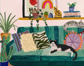 Cozy Cat Room by Hebe Studio Rhi James Paint Anywhere Collective Kit Adult Paint by Number