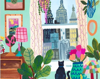 New York City Apartment Cats Empire State by Hebe Studio Rhi James Paint Anywhere Collective Kit Adult Paint by Number