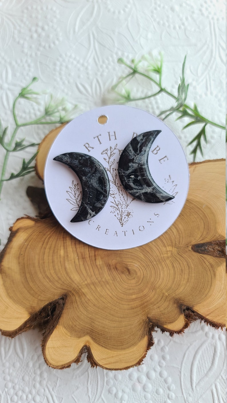 Black /& White Marble  Crystal  Crescent Moon Stud Earrings  Polymer Clay Earrings  Handmade  Mother/'s Day Gift  Anniversary