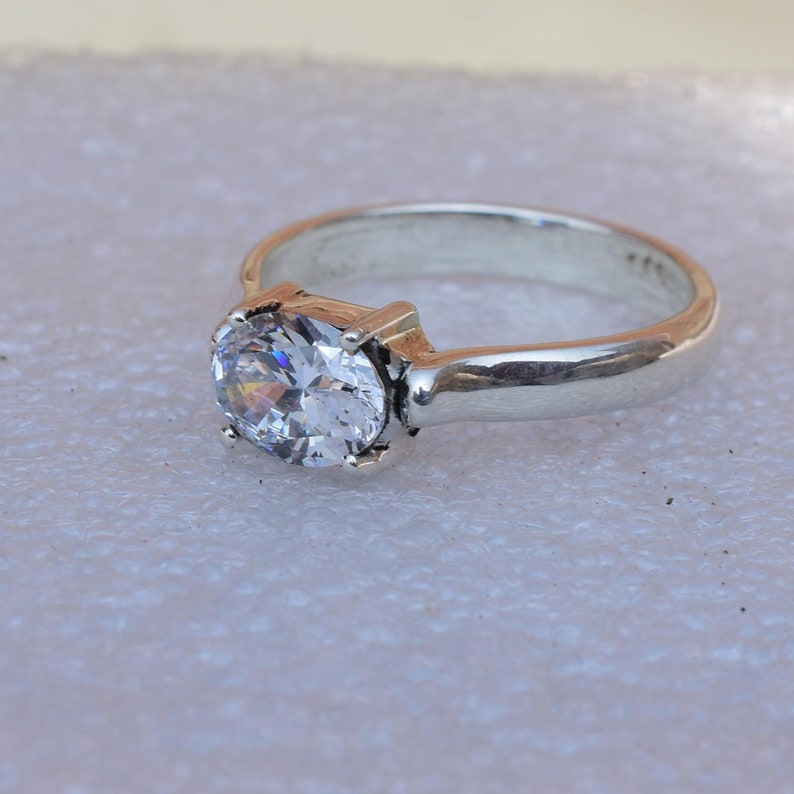 Ring, 2.10 Cts Classic Engagement Ring Rings jewelry 925 Solid Sterling Silver Ring Oval Cut Ring Wedding Ring Promise ring