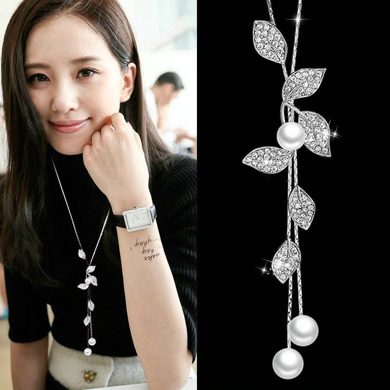 Classic White Simulated-pearl Leaf Drop Necklaces /& Pendants For Women