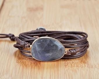 Labradorite Natural Stone Beaded Wrap Bracelet Handmade Crystal Healing Leather Bracelet