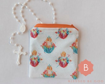Rosary Pouch Cream Embroidered Fabric Women/'s Catholic Gift Small Zippered Pouch Monogram