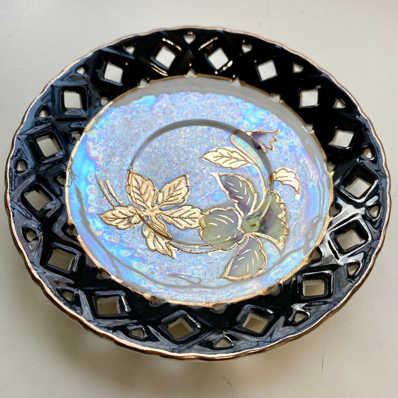 Up-Cycled Tea Suacer Japan Vintage China Jewelry Dish Irridescent /& Gold