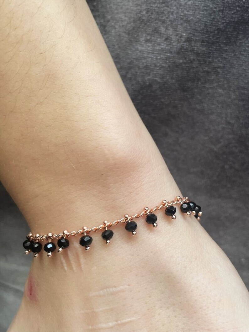 black dangling beads rose gold plated chain bracelet rose gold cleo bracelet