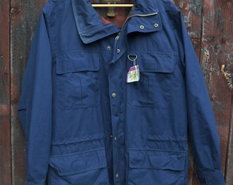 Vintage Outerwear 1980s Eddie Bauer Fleece Size Large Gray and Blue Made in USA Vintage Ski Unisex Sustainable Style