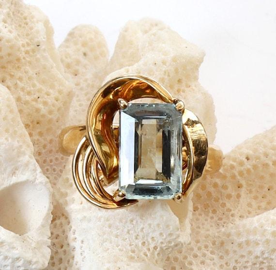 Mid-Century Aquamarine Ring