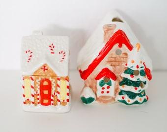 Vintage Christmas Houses - Mantle Decor - Tea Light Holder - Holiday Trinkets