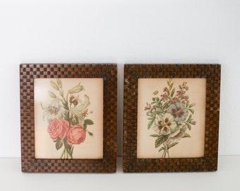 Vintage Botanical Prints in Brown Frames - Set of 2