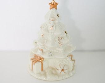 Vintage Ceramic Christmas Tree - Mantle Decor - Tea Light Holder - Holiday Trinkets