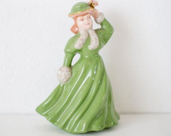 Vintage / Antique Statue - Figurine - Lady in Green Dress - Handmade 1950's Ceramic