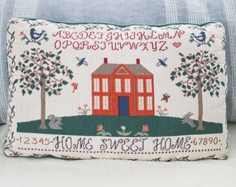 Vintage Home Sweet Home Needlepoint Throw Pillow - Home Decor
