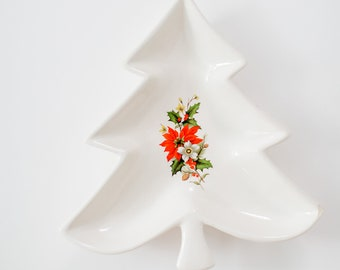 Vintage Christmas Tree Decorative Tray - White with Red Poinsettias