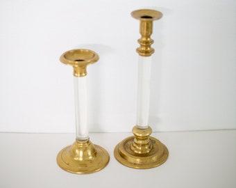 Vintage Brass & Lucite Candlesticks - Set of 2 - Home Decor