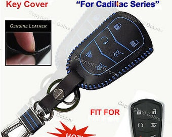 Leather Car Remote Key Cover Case Fob For Cadillac Escalade 2015 2016 2017 2018