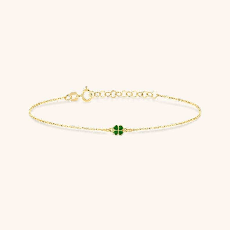 14k Real Solid Gold Dainty Handmade Bracelet for Women Four Leaf Green Clover Charm Bracelet in 14k Solid Gold