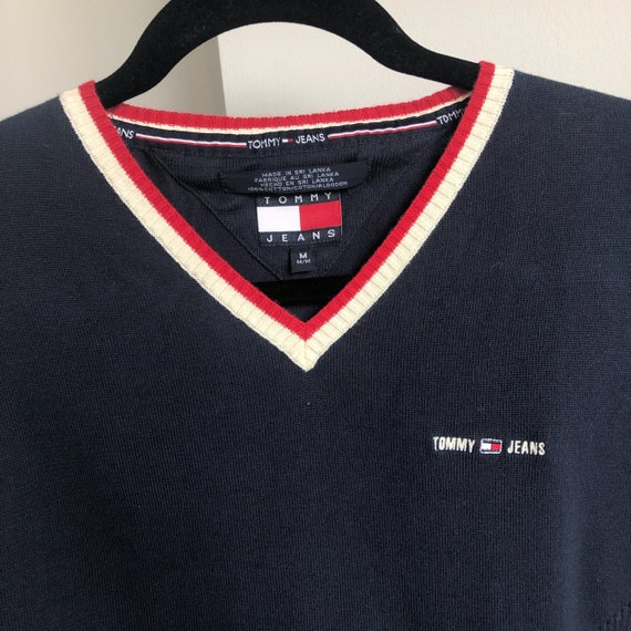 Vintage 90's Tommy Hilfiger Navy Red and Cream Pre