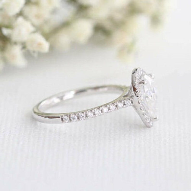 Pear Cut Solitaire With Accent RingHalo Unique Engagement RingWedding Bridal RingsGift For Her2.50 CT Diamond925 Silver14K White Gold
